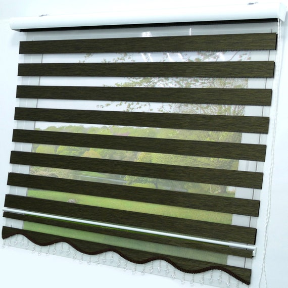 Double rollo Mokka Dark Brown Lizbon Modern Darkening Rollo Window Rollo Duorollo Blickdicht viscage Protective sunscreen Curtains Zebra Perde