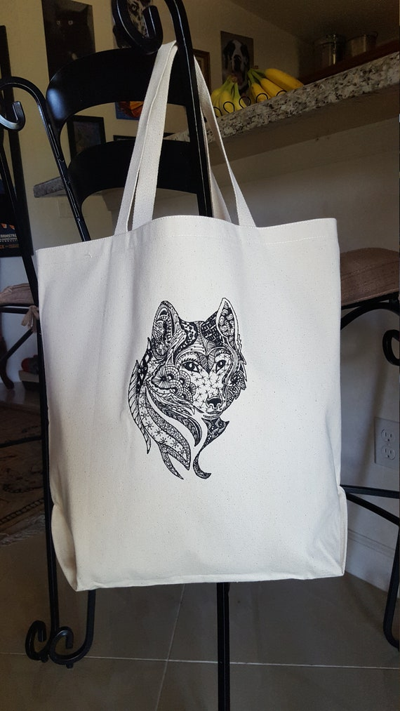 Gift For Her Wolf Art Wolf Shopping Bag Wolf Lover Gift Canvas Tote Bag Wolf Grocery Bag Wolf Eco Bag Wolf Tote Bag Women Tote Bag