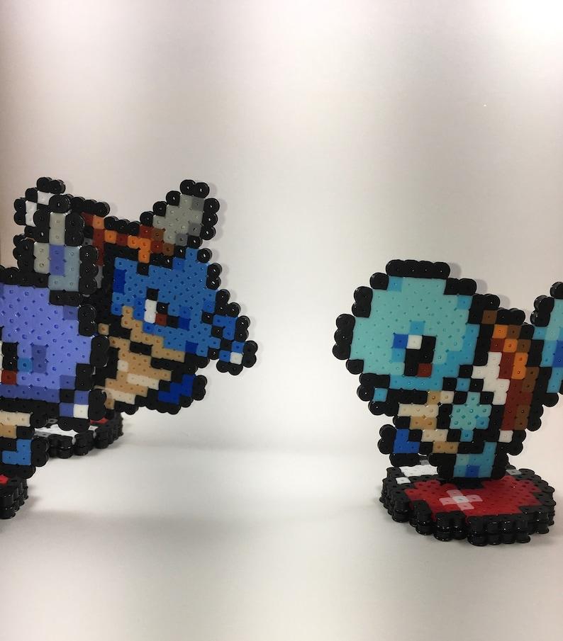 3D Pokemon Water Johto Evolution Line Perler Bead Standing Sprite Art  Squirtle Wartortle Blastoise Mega *Shiny Options!* Great Gifts