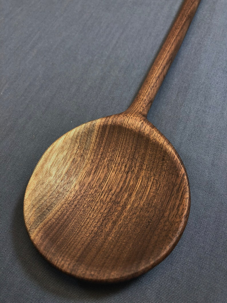 Hand carved walnut serving spoon 12 1 2 inches long skimmer etsy