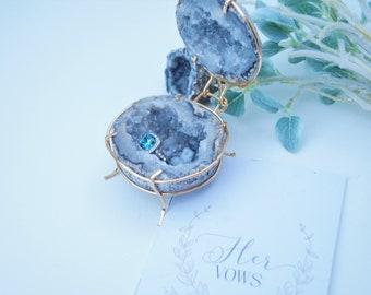 Wedding Ring Box Jewelry Box Geode Engagement Ring Box style 6 Wedding Decor Crystal Geode Engagement Ring Box