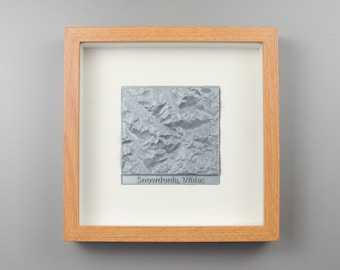 Framed Location Terrain Map   Personalised Map   Valentines Gift   3D Printed   Sawford Design Studio
