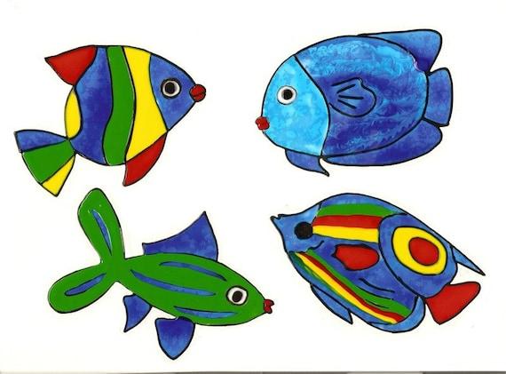 4 bunte Fische-Badezimmer-Deko-Window Color