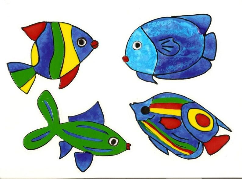 4 bunte Fische-Badezimmer-Deko-Window Color | Etsy