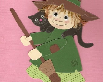 Clay cardboard window picture:Witch with cat and bans-Halloween-Witch-Cat