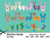 Llama Super Bundle SVG Cut Files, PNG llamas clipart, farmhouse clip art, happy llama face, girl, boy, ranch animal vector, alpaca, cactus