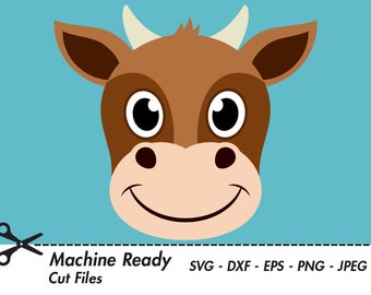 Cute Cow Svg Cut Files Png Cattle Clipart Farm Animal Clip Etsy