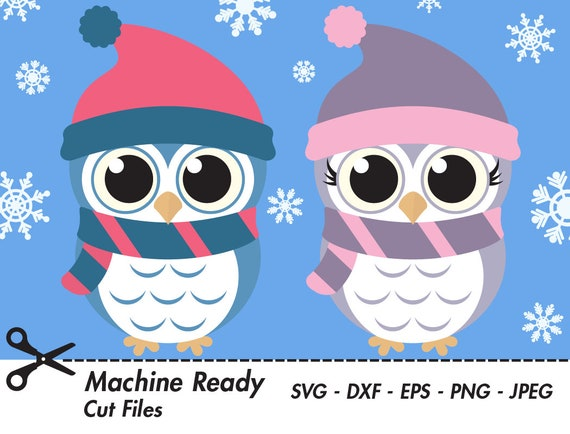 Cute Winter Owl Svg Cut Files Png Owls Clipart Baby Owl Art Etsy