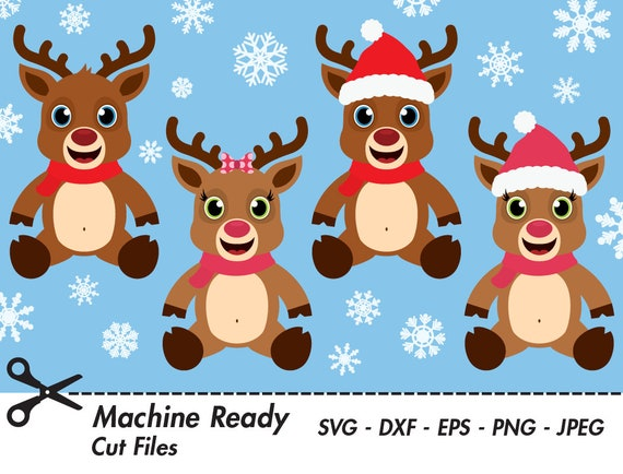 Cute Reindeer Svg Cut Files Png Reindeer Clipart Christmas Clip Art Winter Woodland Animal Vector Graphic Deer Head Girl Boy