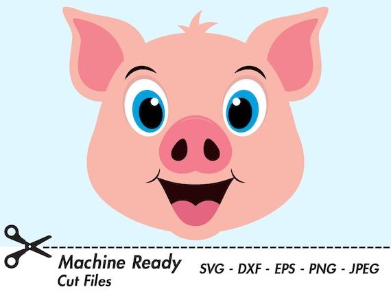 Mignon Porc Coupe Fichiers Svg Cochons Clipart Pig Face Clip Etsy