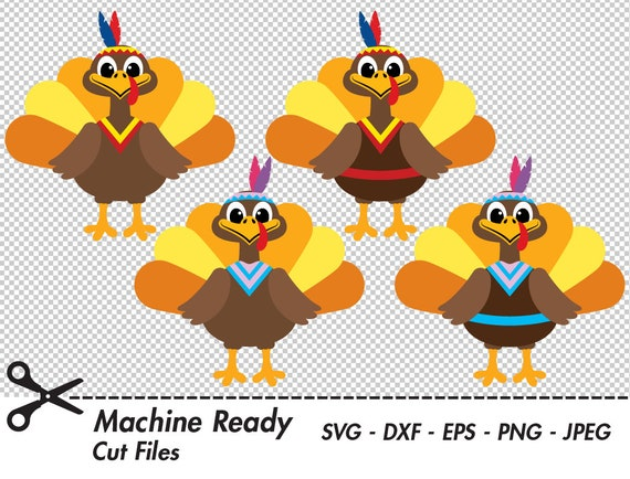 Cute Native American Turkey Svg Cut Files Png Thanksgiving Etsy