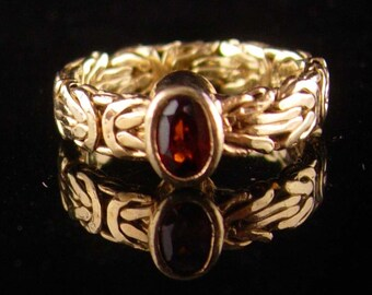 ad87bf8a207 Unusual GARNET Ring - Size 6 1 2 - gold over sterling setting - Birthstone  jewelry - January birthday - ladies Jewelry - sweetheart ring
