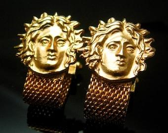 096215a4f0ff Rare MEDUSA Cufflinks Vintage Snake Goddess Mythical set swank Designer  Gold mesh wrap