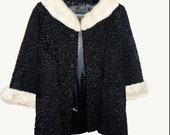 1950 39 s Silver Mink Swing Coat- York Furrier black persian lamb - A line flair Jacket - small to medium - side pockets - large buttons
