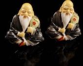 Toshikane Cufflinks - Vintage Asian set - Japan - signed porcelain hand painted - God of Wisdom - silver cuff links oriental Buddha