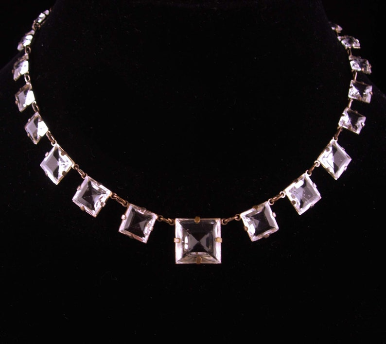 Antique Rock Crystal Choker vintage signed Czecho choker Open Back prism stones 1920s Art deco necklace