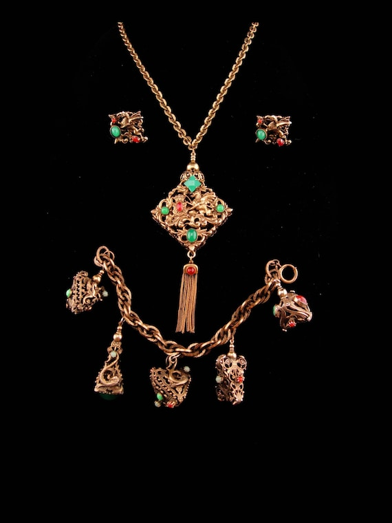Vintage dragon parure / dragon fob necklace / myth