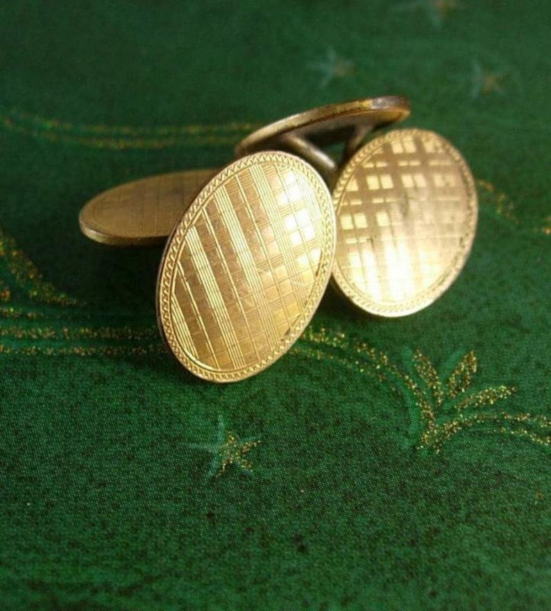 Vintage Hallmarked Link Men/'s Cuff Accessory Gold Classic PLAID Cufflinks Tuxedo set anniversary gift