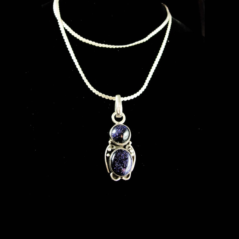 Starry sky Blue Goldstone Necklace Sterling silver Gold Flakes silver jewelry ladies necklace mystical astronomer astronomy gift