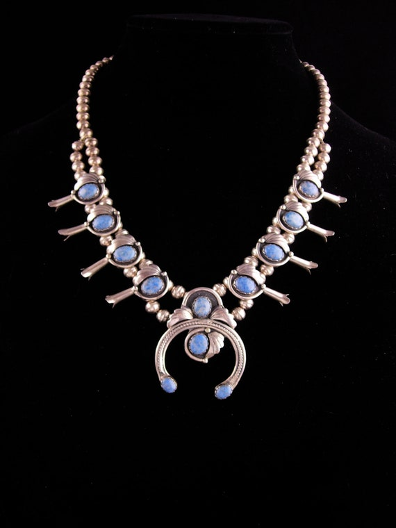 Chunky sterling Turquoise Necklace - Vintage Squas
