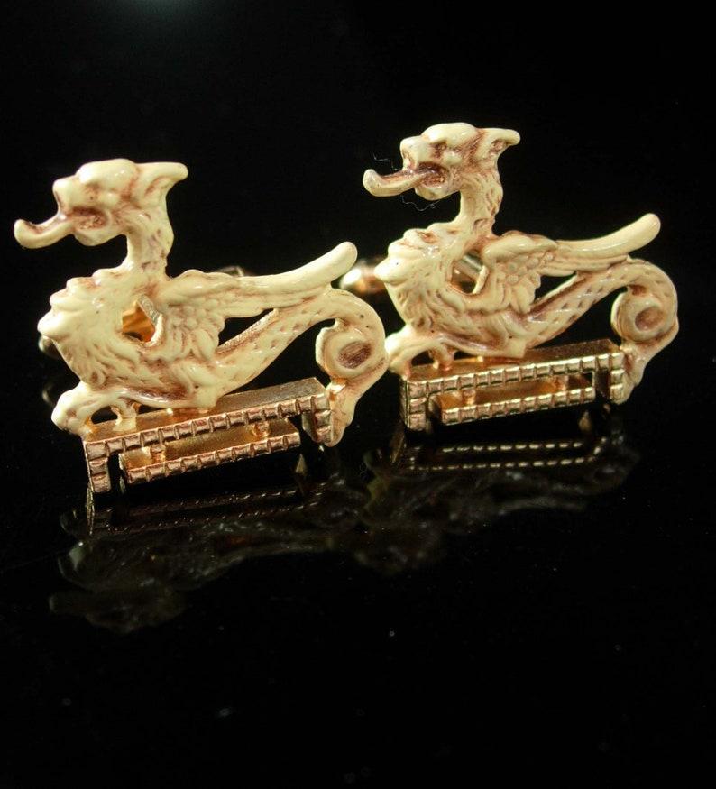 Enamel Dragon Cufflinks Vintage cufflinks Chinese cufflinks oriental Asian Figural Mythical Creature Novelty Wedding fantasy cuff links