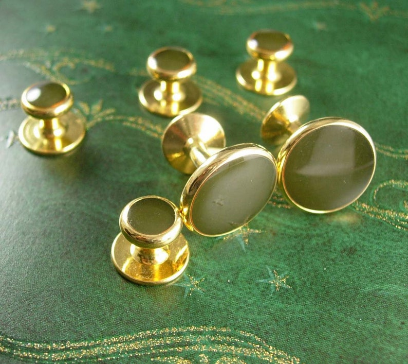 GREEN /& GOLD wedding set Formal Wear tuxedo  Cufflinks Vintage Shirt Stud Set Wedding Jewelry mens cuff links accessory Gentleman