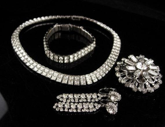 Vintage Rhinestone parure - deco silver necklace … - image 3