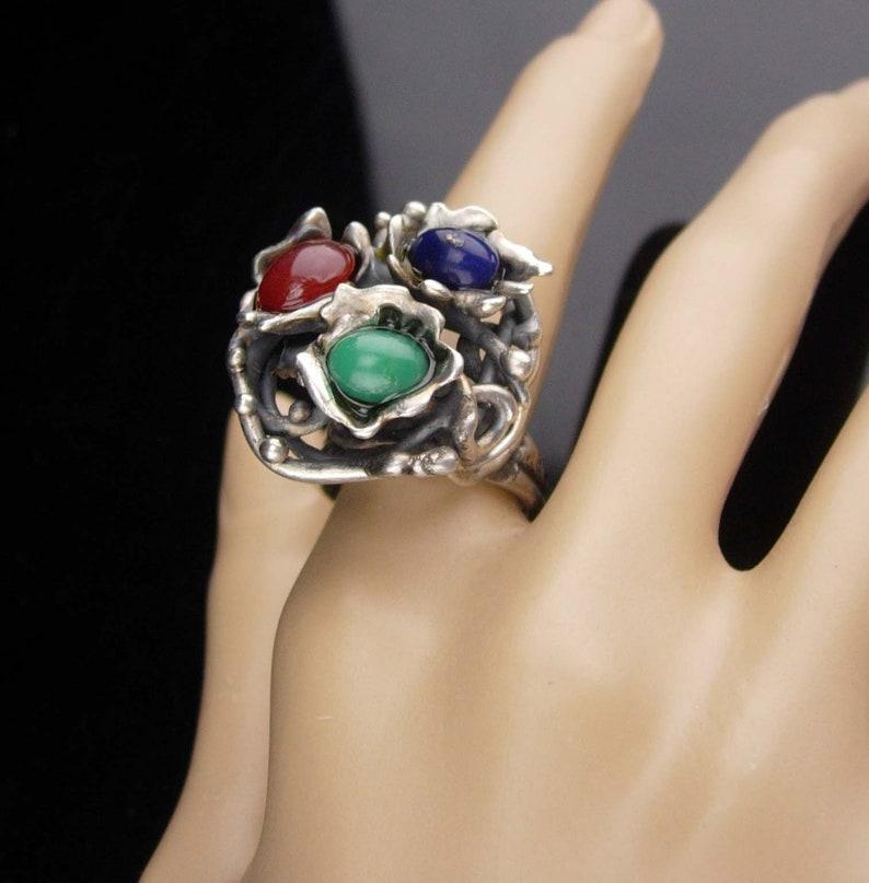 HUge ring  sterling modernist ring  Vintage lapis  Abstract design  Size 8 12 45th anniversary  December Sagittarius Capricorn