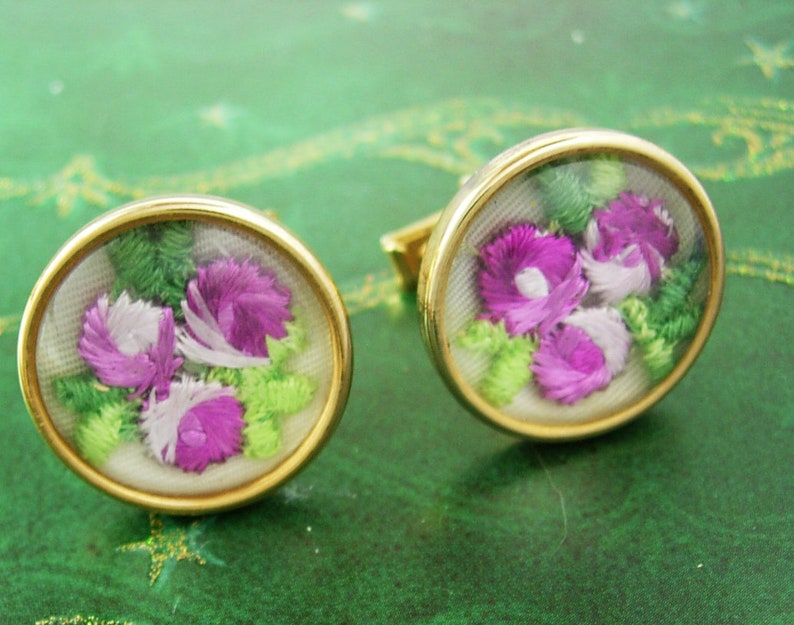 Gorgeous PINK Flower under glass Cufflinks embroidery wedding cuff links florist gift mans womens petit point gold cuff links