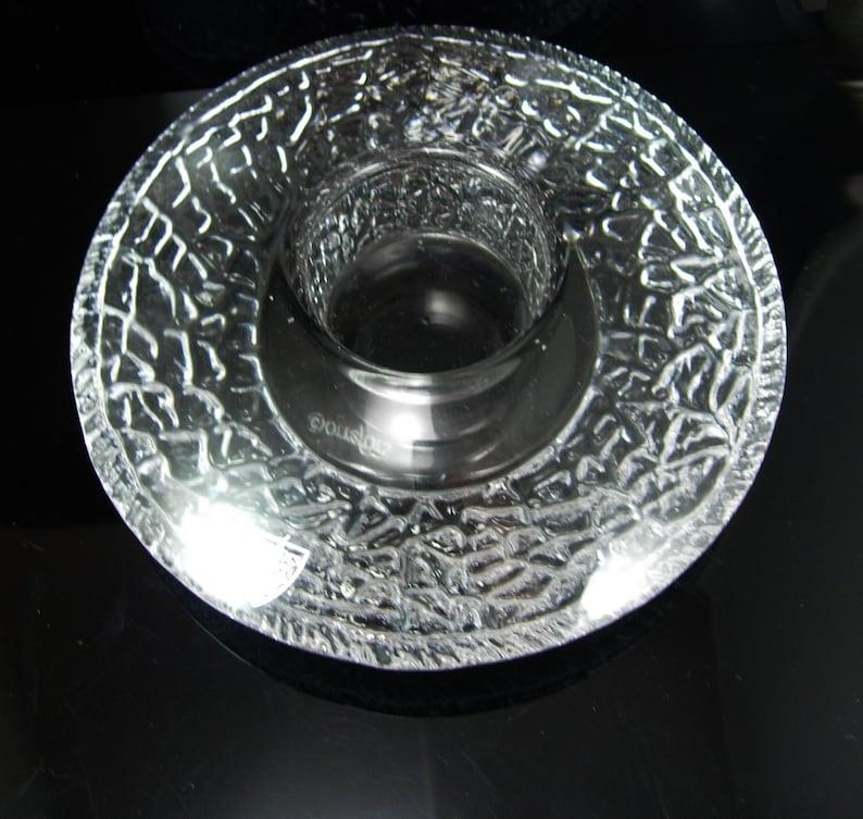 Orrefors Swedish Glass Candle holder Fying saucer shape Sweden Crystal Discus Votive with tag Lars Hellsten