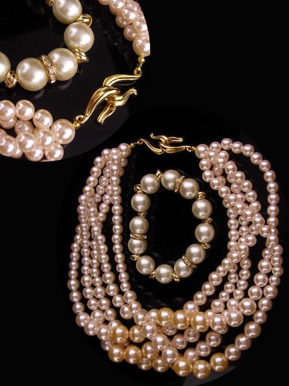 OOAK Vintage Handmade Assemblage Choker-Art Deco Rhinestone with white faux pearlbead accents-bridal choker-adjustable-repurposed vintage