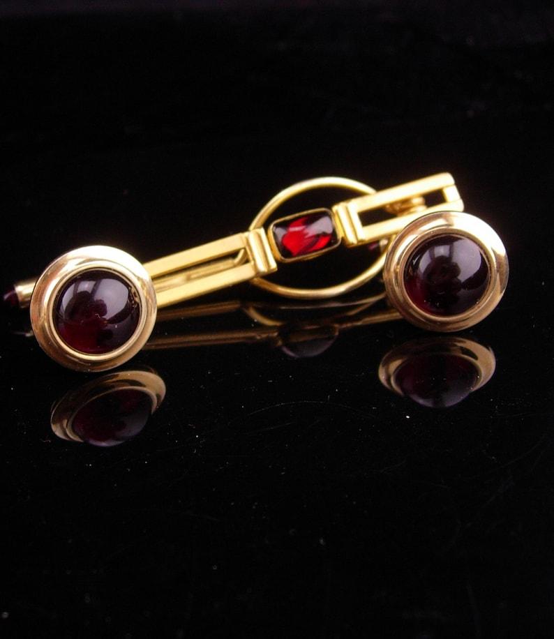 Krementz cufflinks  RED jeweled ends  vintage tie clip  formal wear  mens jewelry designer  swank tie bar  wedding groom fathers day