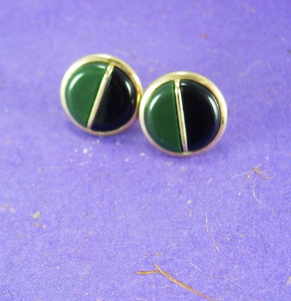 Vintage green cuff links two tone color Swank gold cufflinks anniversary fathers day good luck Irish