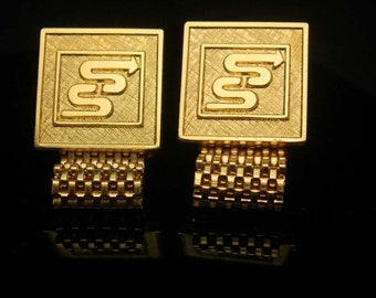 Sweetheart Arrow Cufflinks Vintage Archery Initial letter S Target Gold mesh wrap cuff links Quality Fine Jewelry hipster cool gift