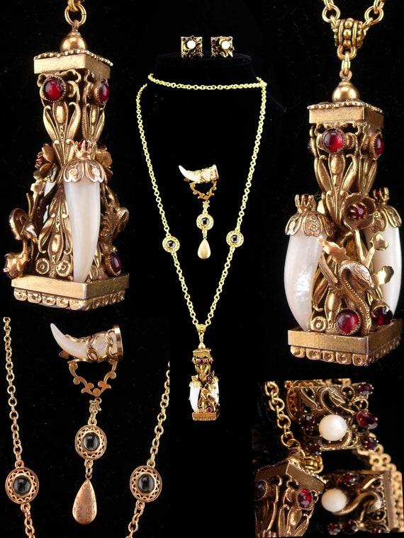 Vintage dragon parure / dragon fob/ mythical brooc