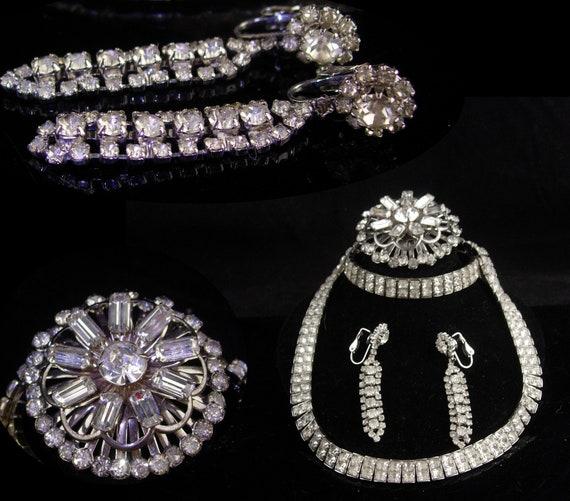 Vintage Rhinestone parure - deco silver necklace … - image 2