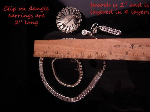 Vintage Rhinestone parure - deco silver necklace … - image 5