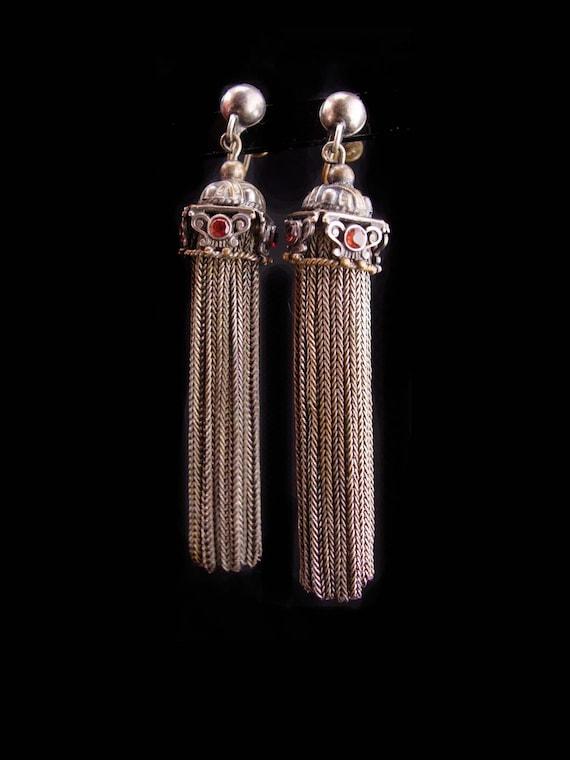 Antique 2ct garnet earrings / victorian tassel set