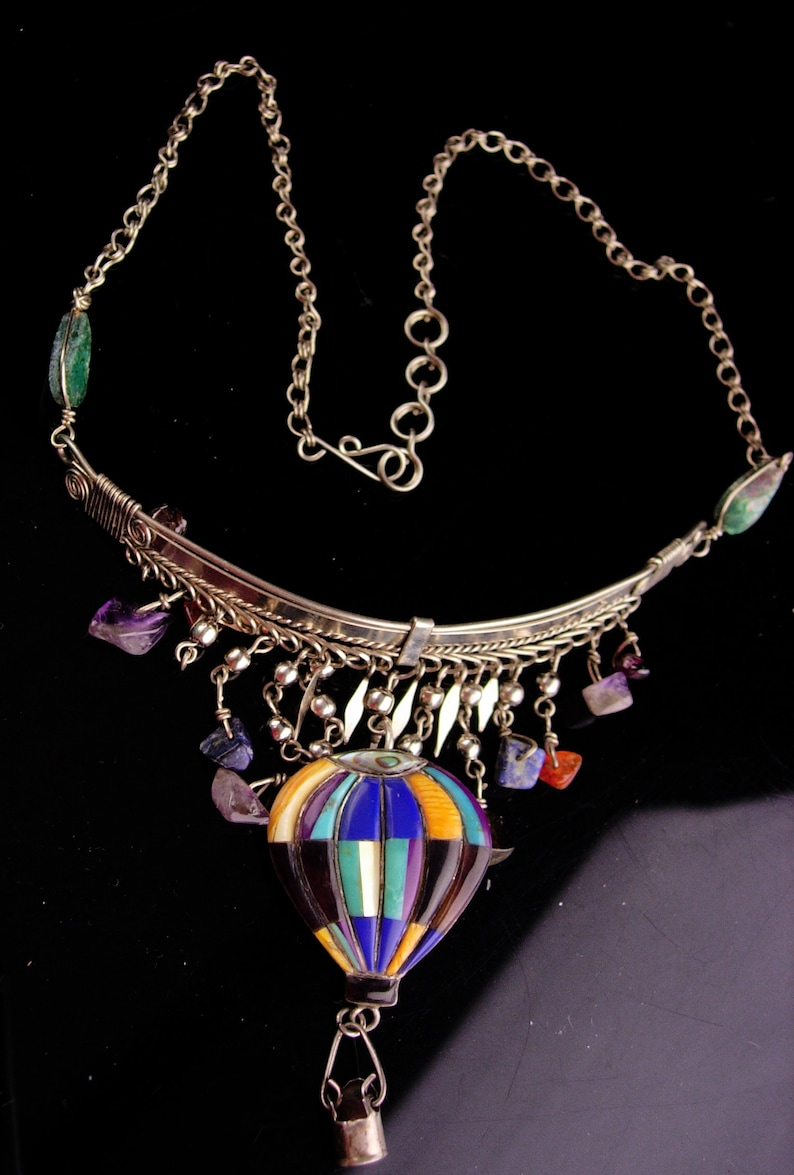Hot Air Balloon Necklace  Vintage sterling Steampunk pendant  Gypsy necklace   hippie jewelry  fringe choker