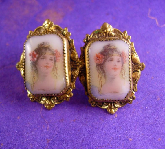 French earrings / Victorian cameo portrait earring
