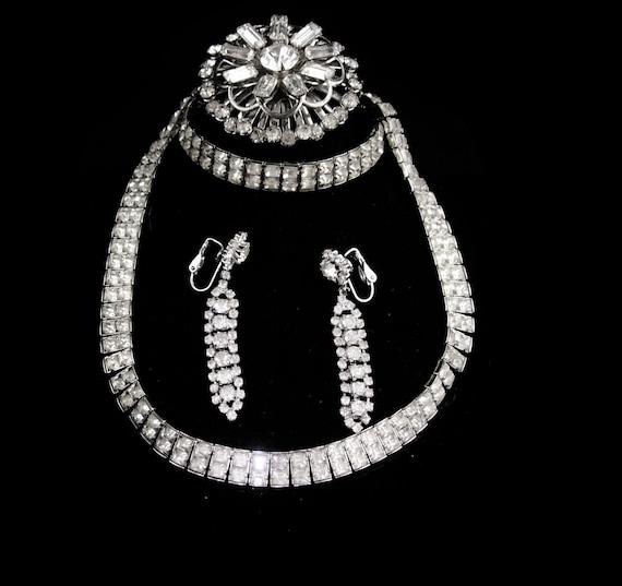 Vintage Rhinestone parure - deco silver necklace -