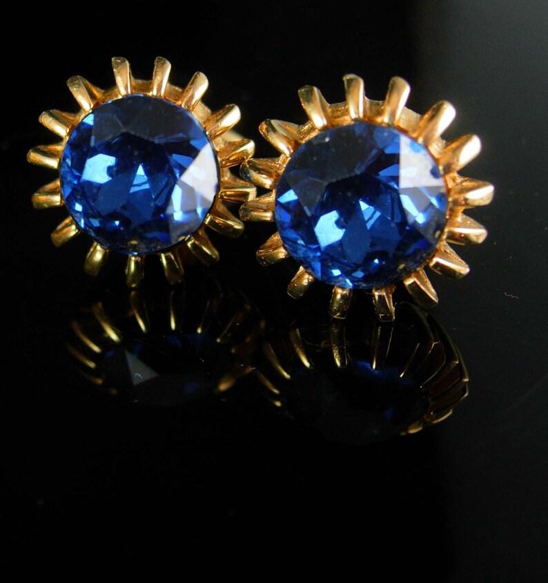 Vintage Blue hickok Cufflinks Claw gold wedding groom gift 18th 65th anniversary December birthstone jewelry sagittarius capricorn