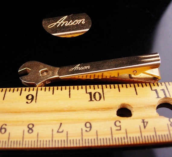 Vintage Tool tie clip  crescent wrench tie clip  silver Handyman tiebar  gift for him  plumber gift  pipe fitter  stocking stuffer