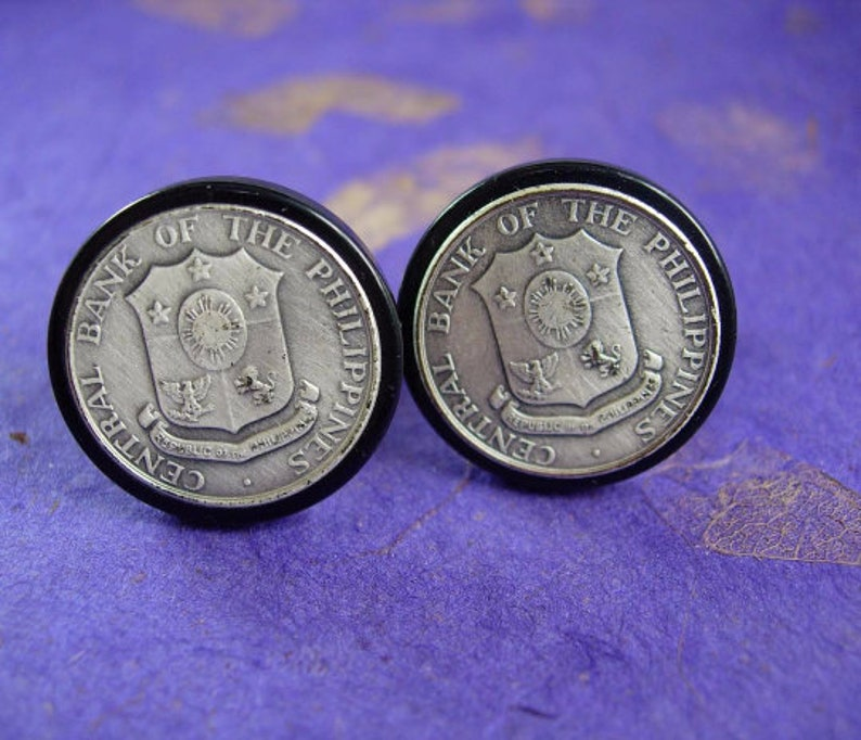 Central Bank of the Philippines Coin Cufflinks Foreign Bangko Sentral ng Pilipinas Mens jewelry shields