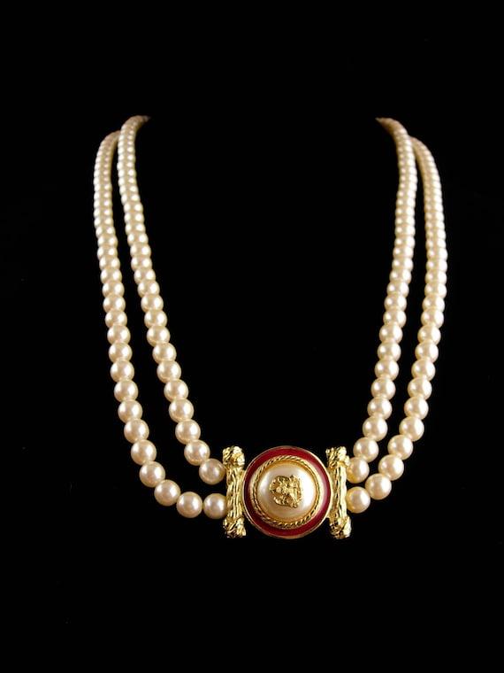 Large Designer Pearl Necklace Richelieu Enamel Eagle Etsy