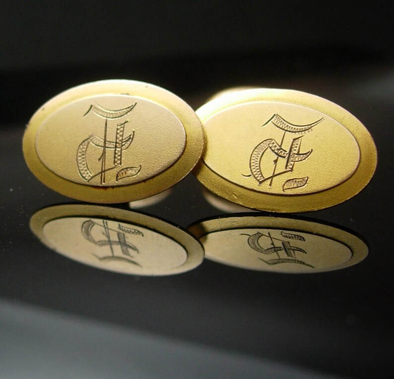 9kt rose gold cufflinks Victorian 1800/'s initials F M signet hallmark wedding Tuxedo groom gift personalized engraved Antique jewellery