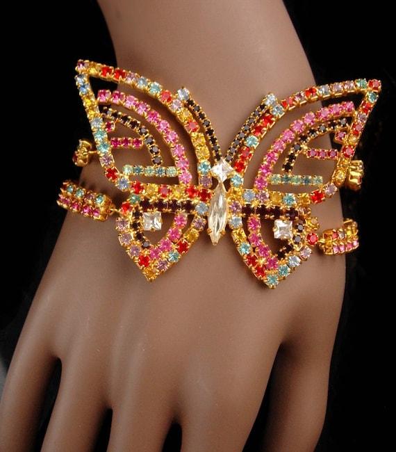 Blinged out butterfly Bracelet - BIG vintage rhine
