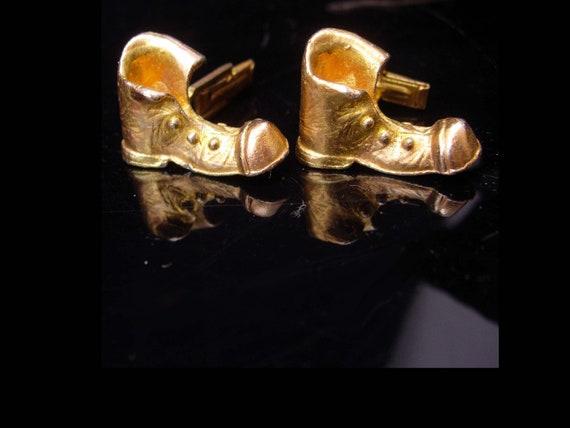 Rare boot cufflinks / Victorian shoe / Vintage gol