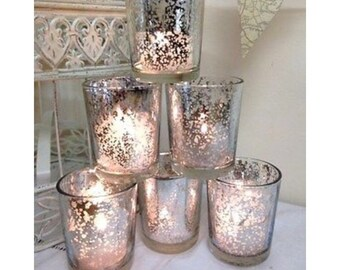Set of Blue and White Festive Xmas Glass Tea Light Votive Candle Holders Wedding Table Decorations Centrepiece Settings Vintage  Tealight Holder Set