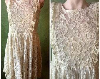 Size Small Lined Vintage Cottage Core Ivory Beige Chantilly Lace Baby Doll Dress or Top by ANGIE